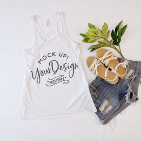 Tank Top Mockup -Bella + Canvas - Women's Flowy Racerback Tank - 8800 White  - Apparel Photography #1229