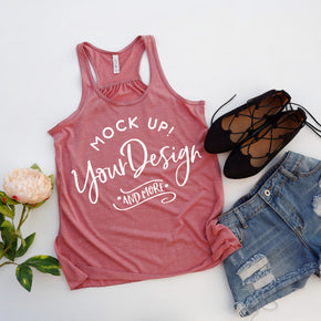 Tank Top Mockup -Bella + Canvas - Women's Flowy Racerback Tank - 8800  Mauve Marble  - Apparel Photography #1184