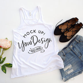 Tank Top Mockup -Bella + Canvas - Women's Flowy Racerback Tank - 8800 White - Apparel Photography #1232