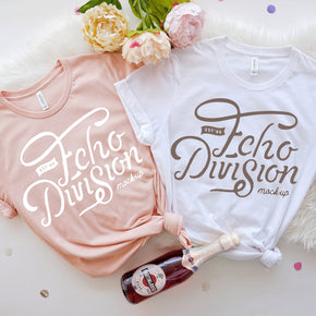 Bachelorette Mockup  - Bella Canvas 3001 Couple Shirt Mockup White -  Heather Peach - Outfit Flat lay - Apparel Photography93