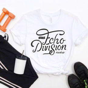 Shirt Mockup  - Bella Canvas 3001 Shirt White - Outfit Flat lay - Apparel Photography #0795