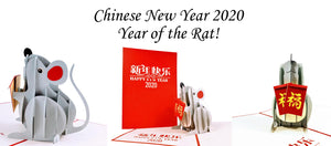 iGifts And Cards Chinese New Year 2020 Year of the Rat. Cute pop up 3D Rat with red envelopes for good luck.