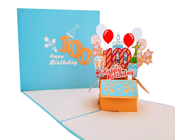 Happy 100th Birthday Blue Party Box 3D Pop Up Greeting Card