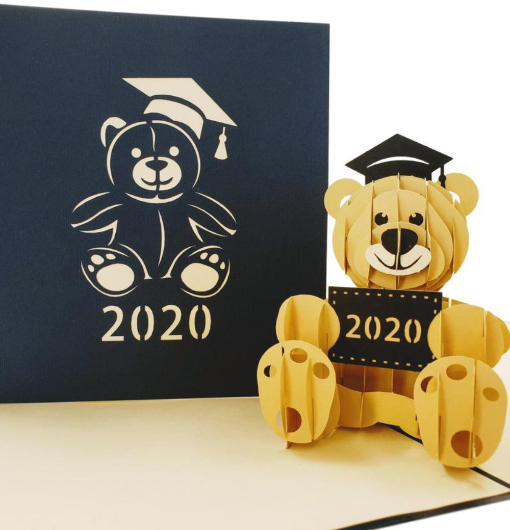 2020 Graduation Happy Bear 3D Pop Up Greeting Card 1 front