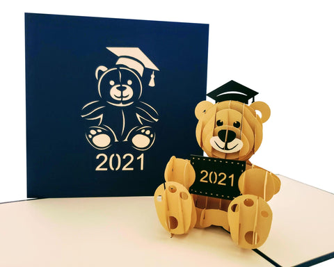 2021 Graduation Happy Bear 3D Pop Up Greeting Card