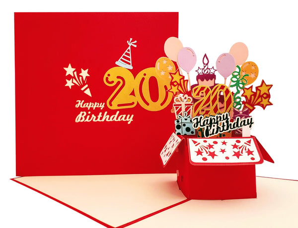 Happy 20th Birthday Red Party Box 3D Pop Up Greeting Card