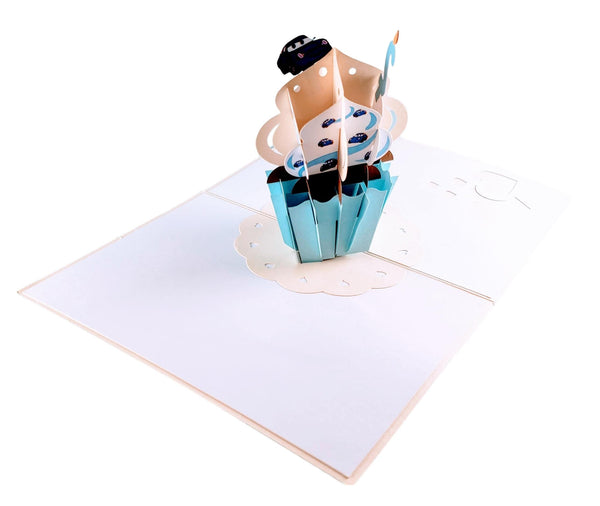 2nd Birthday Blue Cupcake 3D Pop Up Greeting Card 4
