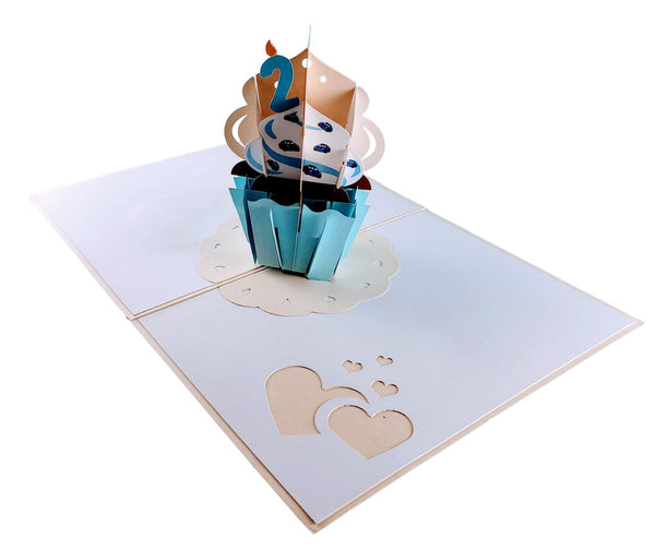 2nd Birthday Blue Cupcake 3D Pop Up Greeting Card 5