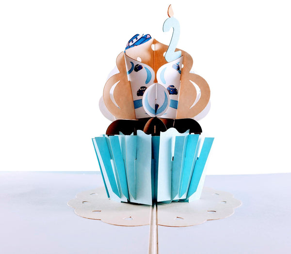 2nd Birthday Blue Cupcake 3D Pop Up Greeting Card 6