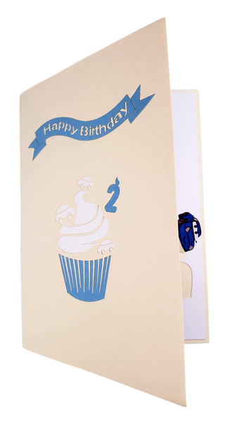 2nd Birthday Blue Car Cupcake 3D Pop Up Greeting Card