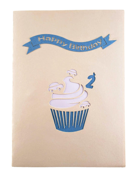 2nd Birthday Blue Cupcake 3D Pop Up Greeting Card 8