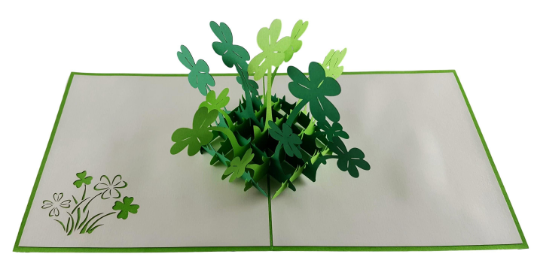 St. Patrick's Shamrock 3D Pop Up Greeting Card 3