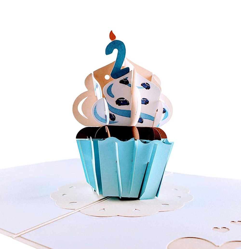 2nd Birthday Blue Cupcake 3D Pop Up Greeting Card 1 front