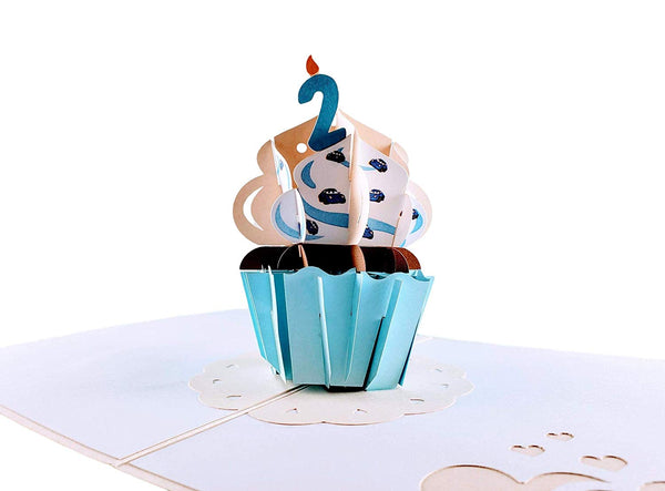2nd Birthday Blue Cupcake 3D Pop Up Greeting Card 1