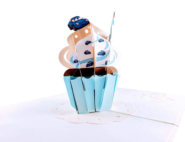 2nd Birthday Blue Cupcake 3D Pop Up Greeting Card 2