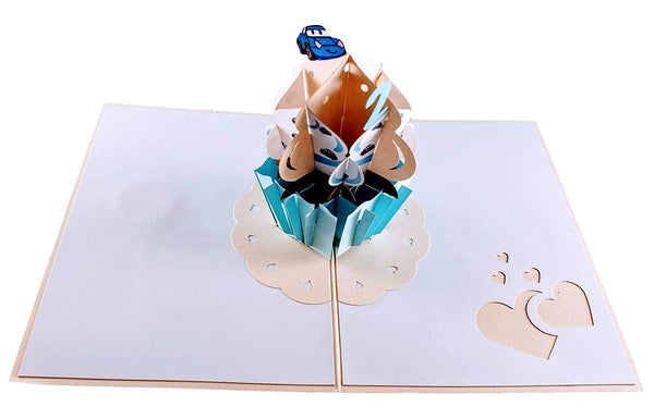 2nd Birthday Blue Cupcake 3D Pop Up Greeting Card 3