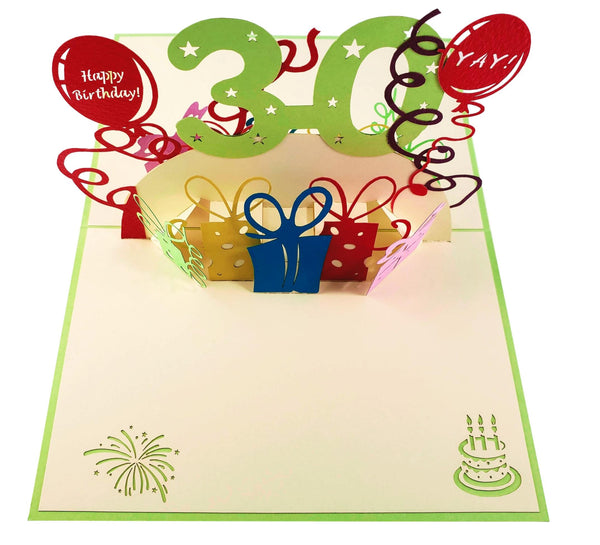 Happy 30th Birthday With Lots of Presents 3D Pop Up Greeting Card 2
