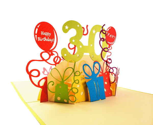 Happy 30th Birthday With Lots of Presents 3D Pop Up Greeting Card 4