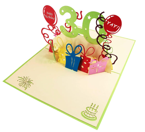 Happy 30th Birthday With Lots of Presents 3D Pop Up Greeting Card 5