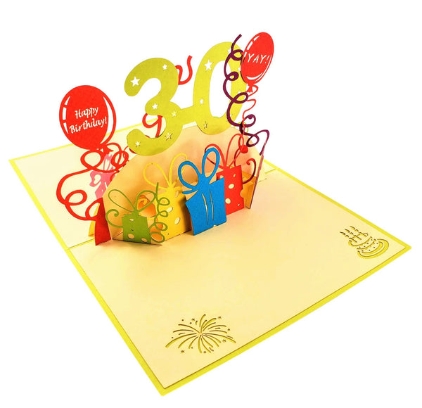Happy 30th Birthday With Lots of Presents 3D Pop Up Greeting Card 6