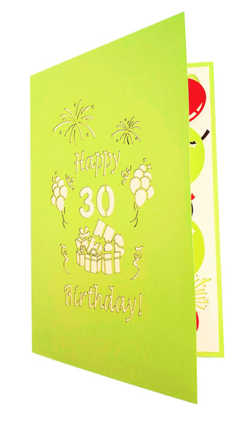 Happy 30th Birthday With Lots of Presents 3D Pop Up Greeting Card 8