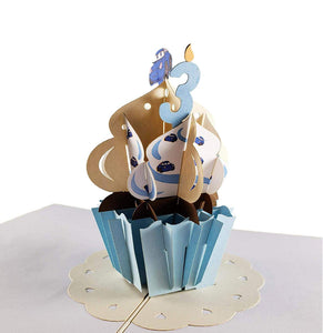 3rd Birthday Blue Cupcake 3D Pop Up Greeting Card 1 front