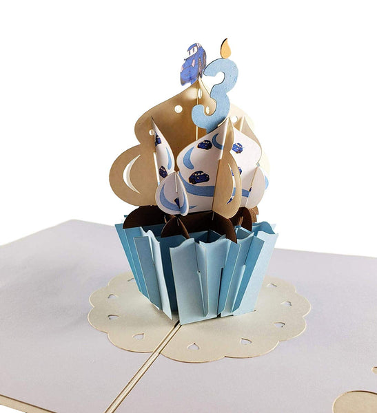 3rd Birthday Blue Cupcake 3D Pop Up Greeting Card 1