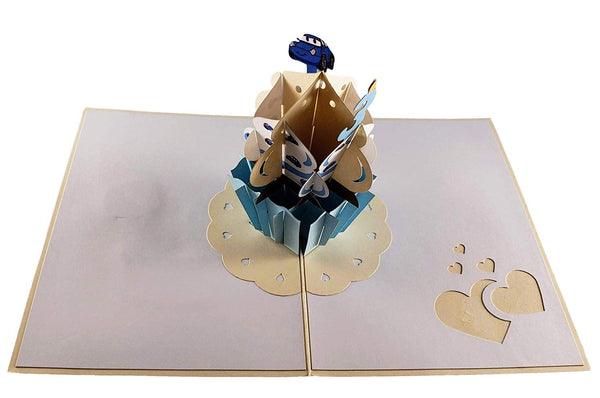 3rd Birthday Blue Cupcake 3D Pop Up Greeting Card 2