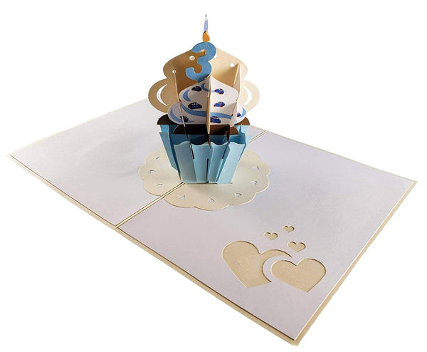 3rd Birthday Blue Cupcake 3D Pop Up Greeting Card 3