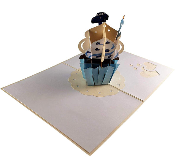 3rd Birthday Blue Cupcake 3D Pop Up Greeting Card 4