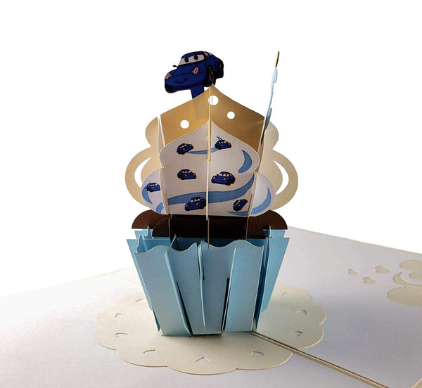 3rd Birthday Blue Cupcake 3D Pop Up Greeting Card 5