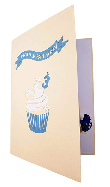 3rd Birthday Blue Cupcake 3D Pop Up Greeting Card 7