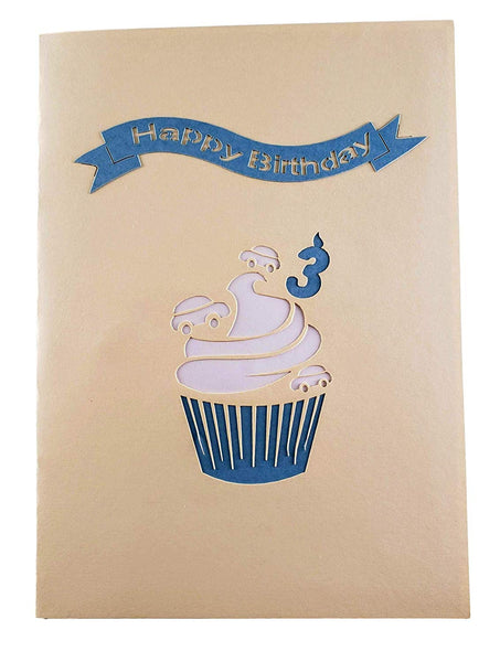 3rd Birthday Blue Cupcake 3D Pop Up Greeting Card 8