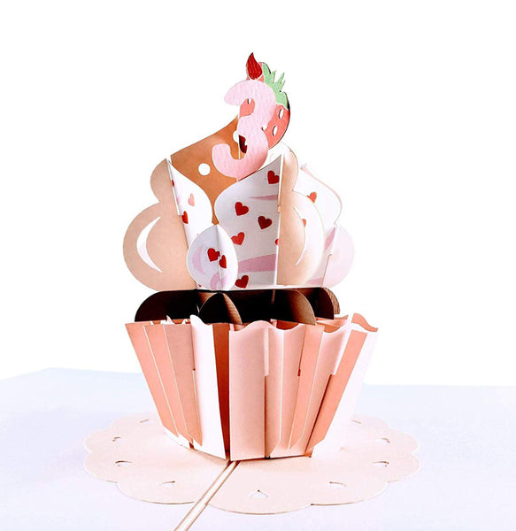 3rd Birthday Strawberry Cupcake 3D Pop Up Greeting Card 1 front