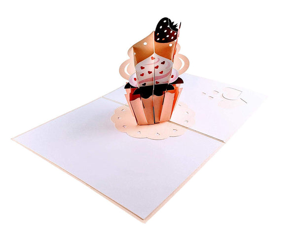 3rd Birthday Strawberry Cupcake 3D Pop Up Greeting Card 4