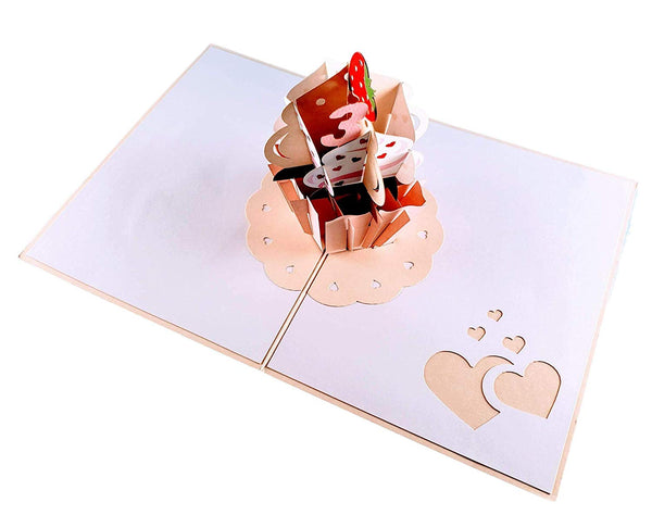 3rd Birthday Strawberry Cupcake 3D Pop Up Greeting Card 6