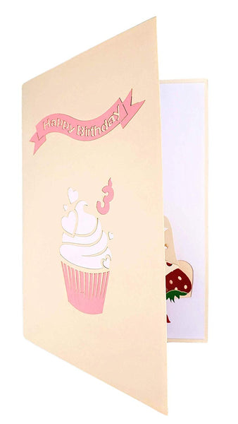 3rd Birthday Strawberry Cupcake 3D Pop Up Greeting Card 8