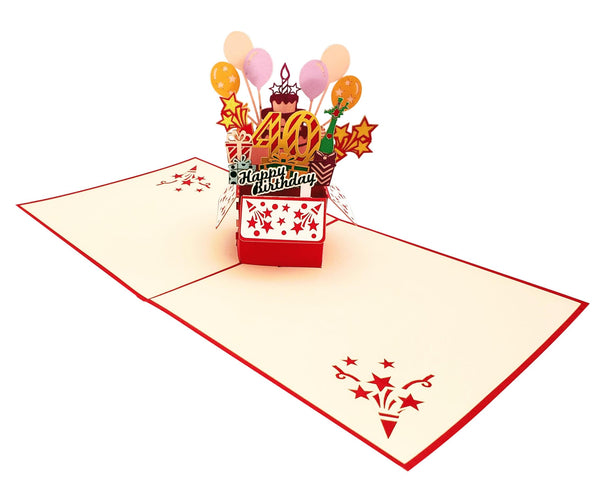 Happy 40th Birthday Red Party Box 3D Pop Up Greeting Card