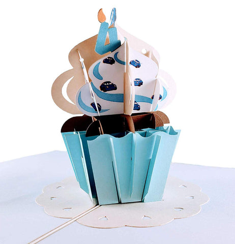 4th Birthday Blue Cars Cupcake 3D Pop Up Greeting Card 1 front