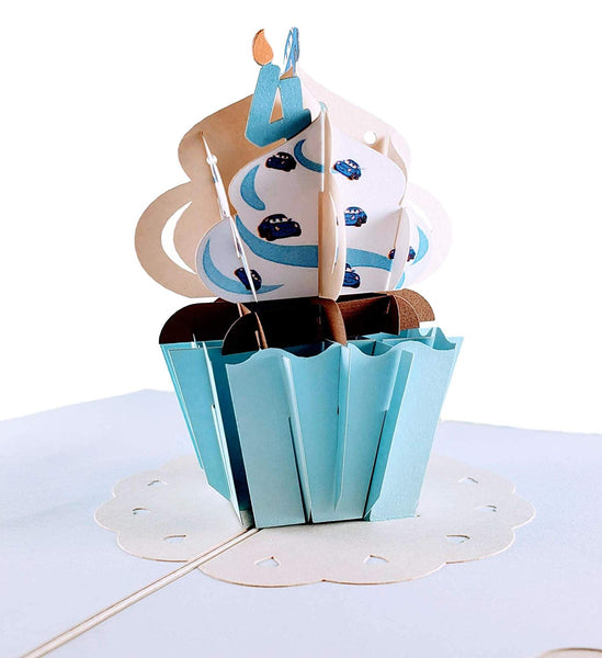 4th Birthday Blue Cars Cupcake 3D Pop Up Greeting Card 1