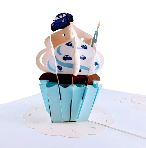 4th Birthday Blue Cars Cupcake 3D Pop Up Greeting Card 2