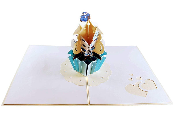 4th Birthday Blue Cars Cupcake 3D Pop Up Greeting Card 3