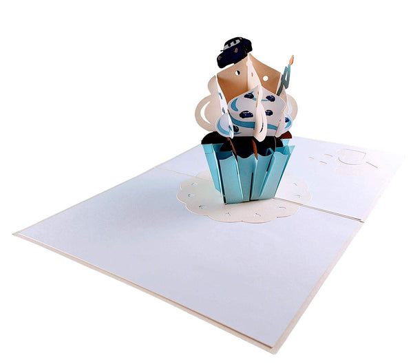 4th Birthday Blue Cars Cupcake 3D Pop Up Greeting Card 4