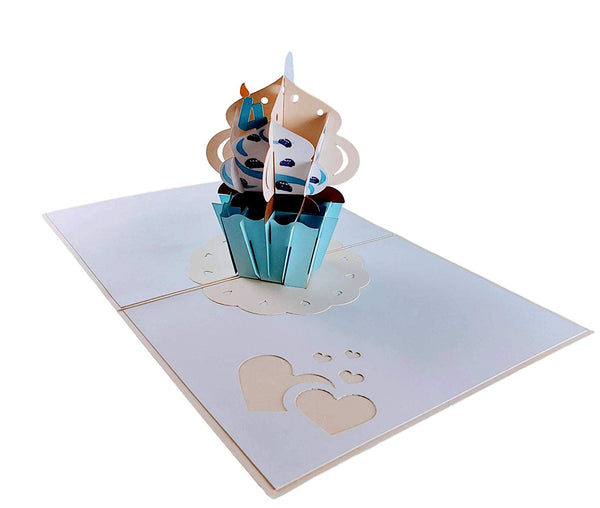 4th Birthday Blue Cars Cupcake 3D Pop Up Greeting Card 5