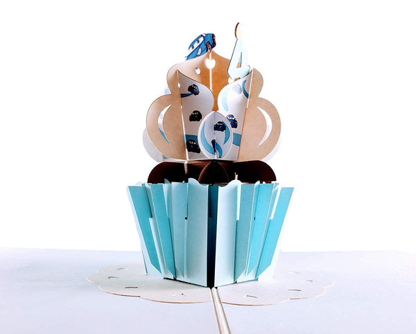 4th Birthday Blue Cars Cupcake 3D Pop Up Greeting Card 6