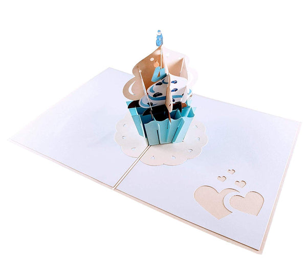 4th Birthday Blue Cars Cupcake 3D Pop Up Greeting Card 7