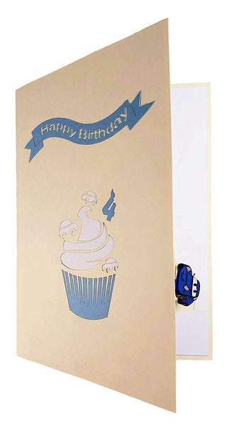 4th Birthday Blue Cars Cupcake 3D Pop Up Greeting Card 8