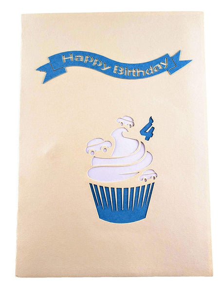 4th Birthday Blue Cars Cupcake 3D Pop Up Greeting Card 9