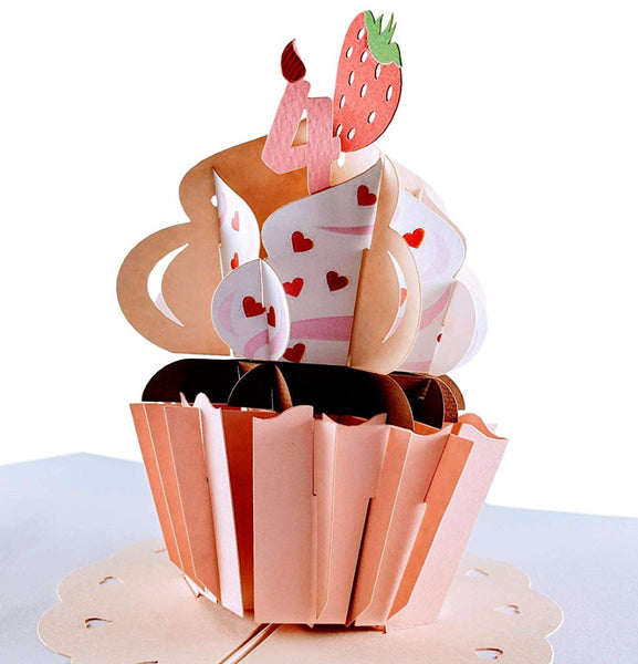 4th Birthday Pink Hearts Cupcake 3D Pop Up Greeting Card 1 front