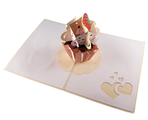 4th Birthday Pink Hearts Cupcake 3D Pop Up Greeting Card 7